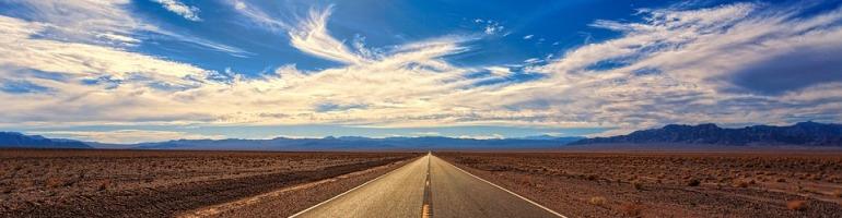 Pixabay: Street, Desert, Sky, Chemtrails, Sun